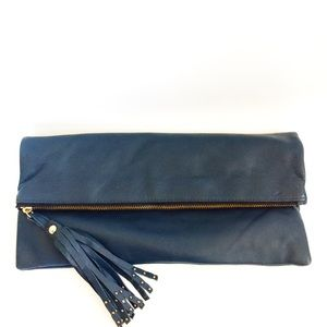 B-Low the Belt Fringe Pull Leather Blue Clutch